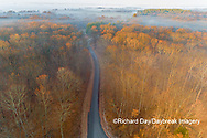 63895-16918 Road at sunrise and fog Stephen A. Forbes State Park-aerial-Marion Co. IL