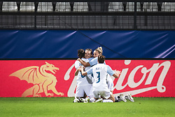 Slovenian nationa lteam celebrating their goal during football match between Slovenia and France in 2nd round of Women's world cup 2023 Qualifying round on 21 of September, 2021 in Mestni stadion Fazanerija, Murska Sobota, Slovenia. Photo by Blaž Weindorfer / Sportida