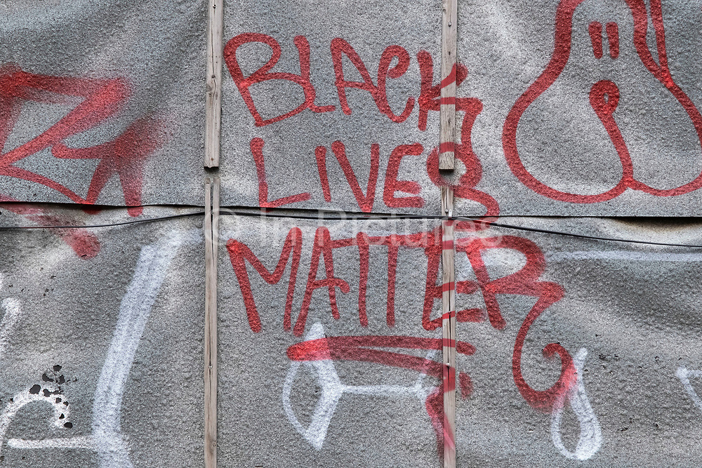 BLM Black Lives Matter and other graffiti in Waterloo on 13th April 2021 in London, United Kingdom. Black Lives Matter is an international human rights movement, originating in the African-American community, that campaigns against violence and systemic racism towards black people.