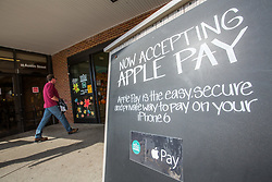 Oct. 28, 2014 - Boston, Massachusetts, U.S. - A Whole Foods Market in Boston announces to its customers it is now accepting the new form of payment Apple Pay, which uses mobile devices to purchase food and goods. (Credit Image: © Nicolaus Czarnecki/ZUMA Wire)