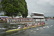 Henley Royal Regatta, Henley on Thames, Oxfordshire, 2-6 July 2014.  Saturday  15:48:25   05/07/2014  [Mandatory Credit/Intersport Images]<br /> <br /> Rowing, Henley Reach, Henley Royal Regatta.<br /> <br /> The Ladies' Challenge Plate<br /> University of California, Berkeley, U.S.A. v Leander Club and Molesey Boat Club