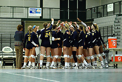 22 September 2015:  Vikings team huddle during an NCAA womens division 3 Volleyball match between the Augustana Vikings and the Illinois Wesleyan Titans in Shirk Center, Bloomington IL