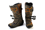 well worn set of Alpine Stars motocross dirt bike boots