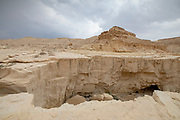 A deep dry river gorge cut in the dry Marl sandstone by flood water. The only water that flows into the Dead Sea, Israel