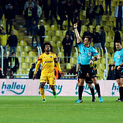 Referee Firat Aydinus (C) during their Turkish super league soccer match Fenerbahce between Kayserispor at the Sukru Saracaoglu stadium in Istanbul Turkey on Sunday 13 March 2016. Photo by TVPN/TURKPIX