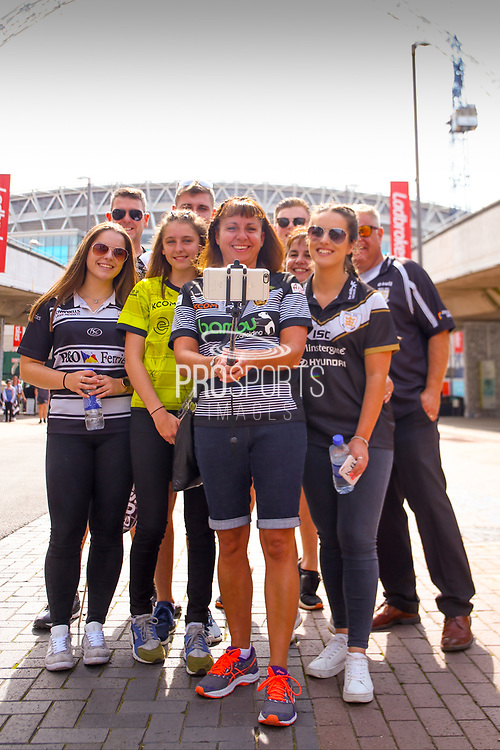 Hull fans taking a selfie during the Ladbrokes Challenge Cup Final 2017 match between Hull RFC and Wigan Warriors at Wembley Stadium, London, England on 26 August 2017. Photo by Simon Davies.