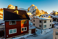 Houses in Svolvaer, Austvagoya Island, Lofoten Islands, Arctic, Northern Norway.