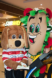 Subway Healthier Way Subs. Donny Dog the Doncaster Rovers Mascott and Subman at the Doncaster Subway.28 October 2010 .Images © Paul David Drabble