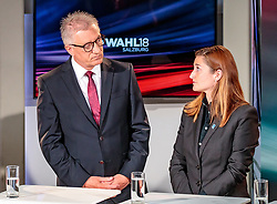 22.04.2018, Wahlzentrum, Salzburg, AUT, Salzburger Landtagswahl, im Bild SPÖ Spitzenkandidat Walter Steidl, FPÖ Spitzenkandidatin Marlene Svazek // during the Salzburg state election 2018 in the election center in Salzburg, Austria on 2018/04/22. EXPA Pictures © 2018, PhotoCredit: EXPA/ JFK
