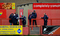 Cheltenham Town groundsmen prior to kick-off- Mandatory by-line: Nizaam Jones/JMP - 21/11/2020 - FOOTBALL - Jonny-Rocks Stadium - Cheltenham, England - Cheltenham Town v Walsall - Sky Bet League Two