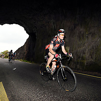 The cyclists head through Turners Tunnel which stradles the Cork-Kerry border having left Glengarriffe and heading to the finish line in Kenmare while taking part in the fourth annual Ring of Beara Cycle Kenmare. The drizzly morning didn't dampen spirits as cyclists embarked on a challenging 110km or 140km route  along the rugged coastline of the Beara peninsula. The Ring of Beara Cycle was truly a family occasion with over 150 children taking part in the free children's cycle around Kenmare in the morning.. Proceeds from the event will go to supporting Castletownbere Community Hospital, Castletownbere Day Centre and Kenmare Family Resource centre will be the main beneficiaries.<br /> Photo: Don MacMonagle<br /> <br /> pr photo PHOTO FROM RING OF BEARA COMMITTEE <br /> <br /> PRESS RELEASE                 FOR IMMEDIATE RELEASE<br />Saturday 26th May<br />More than 4300 cyclists conquer the Ring of Beara Cycle<br />Saturday saw the staging of the fourth annual Ring of Beara Cycle Kenmare. This ever-popular and growing event brought cyclists from all over Ireland and as far afield as Australia, Grenada, America and Canada to the Beara Peninsula for Ireland's most captivating cycle route.<br />The drizzly morning didn't dampen spirits as cyclists embarked on a challenging 110km or 140km route which encompassed the magnificent mountains, valleys and the rugged coastline of the Beara peninsula. <br />Cyclists basked in wonderful sunshine as they passed through picturesque and quaint towns, including Ardgroom, Eyeries, Castletownbere, Adrigole and Glengarriff. Participants enjoyed food, music and chat at the food stations dotted along the route. <br />Communities along the Beara peninsula came out to support and welcomed the cyclists to their villages as well as encouraging them to keep going!<br />Cyclists arrived back the finish line to a festival like atmosphere and were treated to a well-earned massage, Japanese hot tubs, custom designed medal, live music and food.<br