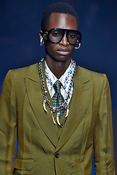 Model Bakay Diaby walks on the runway during the Gucci Fashion Show during Milan Fashion Week Spring Summer 2018 held in Milan, Italy on September 20, 2017. (Photo by Jonas Gustavsson/Sipa USA)