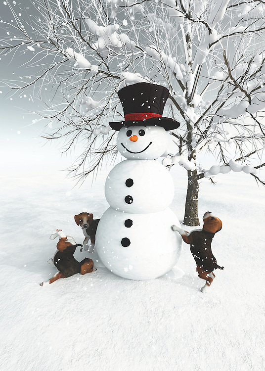 With a cheerful smile on his face, this snowman seems to be welcoming you. Whatever you think he is welcoming you to, there is no question that this is a perfect celebration of the things that are wholly unique to the season of Christmas. You have a beautiful winter day. You have a snowman who has been created at great effort. The level of detail with this snowman is something that will quite frankly take your breath away. You can also lose yourself in imagining what this snowman is welcoming you to. As it turns out, there might be more snow people coming! BUY THIS PRINT AT<br /> <br /> FINE ART AMERICA<br /> ENGLISH<br /> https://janke.pixels.com/featured/dogs-discovering-a-snowman-jan-keteleer.html