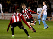 John Fleck of Sheffield United celebrates scoring during the English League One match at the Bramall Lane Stadium, Sheffield. Picture date: April 5th, 2017. Pic credit should read: Jamie Tyerman/Sportimage