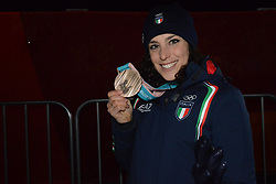 February 15, 2018 - Pyeongchang, South Korea - FREDERICA BRIGNONE of Italy with her bronze medal from the Ladies' Giant Slalom event in the PyeongChang Olympic games. (Credit Image: © Christopher Levy via ZUMA Wire)