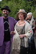 GAVIN TURK; DEBORAH CURTIS, The Serpentine Summer Party 2013 hosted by Julia Peyton-Jones and L'Wren Scott.  Pavion designed by Japanese architect Sou Fujimoto. Serpentine Gallery. 26 June 2013. ,