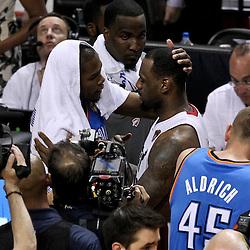 Jun 21, 2012; Miami, FL, USA; Miami Heat small forward LeBron James (6) greets Oklahoma City Thunder small forward Kevin Durant (35) after winning the 2012 NBA championship at the American Airlines Arena. Miami won 121-106. Mandatory Credit: Derick E. Hingle-US PRESSWIRE