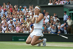 02.07.2011, Wimbledon, London, GBR, WTA Tour, Wimbledon Tennis Championships, Final, im Bild Petra Kvitova (CZE) collapses to her knees as she celebrates after winning the Ladies' Singles Final on day twelve of the Wimbledon Lawn Tennis Championships at the All England Lawn Tennis and Croquet ClubEXPA Pictures © 2011, PhotoCredit: EXPA/ Propaganda/ David Rawcliffe +++++ ATTENTION - OUT OF ENGLAND/UK +++++