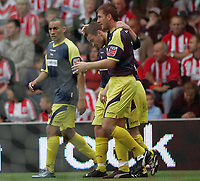 Photo: Lee Earle.<br /> Southampton v Derby County. Coca Cola Championship. Play Off Semi Final, 1st Leg. 12/05/2007.Derby's Steve Howard (C) is congratulated after scoring their first.