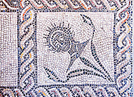 Roman  floor mosaic . National Roman Museum, Rome, Italy .<br /> <br /> If you prefer to buy from our ALAMY PHOTO LIBRARY  Collection visit : https://www.alamy.com/portfolio/paul-williams-funkystock/national-roman-museum-rome-mosaic.html <br /> <br /> Visit our ROMAN ART & HISTORIC SITES PHOTO COLLECTIONS for more photos to download or buy as wall art prints https://funkystock.photoshelter.com/gallery-collection/The-Romans-Art-Artefacts-Antiquities-Historic-Sites-Pictures-Images/C0000r2uLJJo9_s0