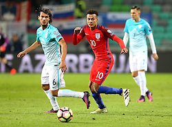 Dele Alli of England goes past Rene Krhin of Slovenia - Mandatory by-line: Robbie Stephenson/JMP - 11/10/2016 - FOOTBALL - RSC Stozice - Ljubljana, England - Slovenia v England - World Cup European Qualifier