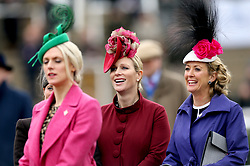 Zara Tindall (centre) during Ladies Day of the 2018 Cheltenham Festival at Cheltenham Racecourse.