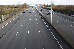 © Licensed to London News Pictures. 13/03/2020. London, UK. Rush hour traffic at 08:45AM remains light on the western section of the M25 . New cases of the COVID-19 strain of the Coronavirus are being reported daily with major sporting fixtures cancelled and people advised to stay at home for seven days if they have a cough and or a high temperature. Photo credit: Peter Macdiarmid/LNP