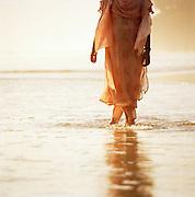 Detail of a woman in a sari, Kerala, India