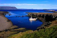 Iceland. Brjánslækur were the ferry for Stykkisholmur departs over Breidafjordur.