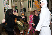KIM GRAHOME; JULIUS JUST, Philip Sallon's mass paranoia swine flu birthday party. DRESS: DISEASE RELATED OR SWINE, Home House. Portman Sq. London. 13 November 2009.
