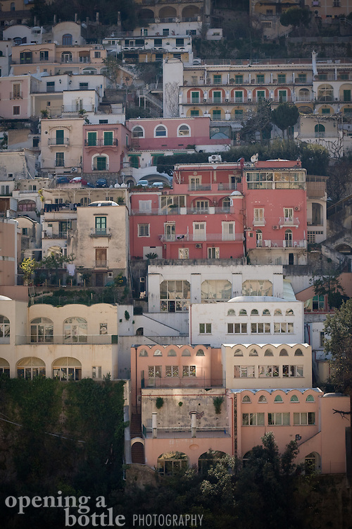 Close up of the homes and storefronts that are typical of an Amalfi Coast village, Positano, Campagna, Italy