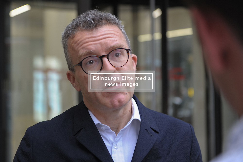 Tom Watson, Deputy Leader of the Labour Party and Shadow Culture Secretary leaves the  Labour Party  London HQ.<br /> <br /> Outside reporters posed questions which he answered before leaving. <br /> <br /> Richard Hancox   EEm 09072019