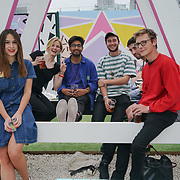 PITCH Stratford, London, England, UK. Press, Photographers, and Blogger are invited to a private for the Pitch Open Airs Cinema. The unique new space is a design-led open-air cinema, drinking terrace and street food venue set to revolutionise the nightlife scene in Stratford on the 13th July 2017. The venue will accommodate 400 sun-worshippers beneath its 80's/90's inspired canopy, which features break-out areas including retro pyramid booths and an outdoor cinema screen.