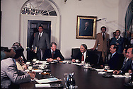 Presidebt Carter meets with the Georgia Congressional delgation in November 1977 in the cabinet room of thw White House.<br /> Photo by Dennis Brack