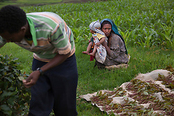 Fifteen-year-old Destaye sits with her son near Bahir Dar, Ethiopia on Aug. 9, 2012. Destaye and her husband Addisu, 27, divide their time between working in the fields and taking care of their 6-month-old baby. Like many other young couples, they tend to the domestic, economic and personal demands of being young parents. At the time of their marriage, when Destaye was age 11, she was still in school and her husband expressed interest in letting her continue her education. Since the birth of their son, however, she has had to confine her life exclusively to being a wife and mother.