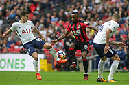 Harry Winks of Tottenham Hotspur (l) and Jermain Defoe of AFC Bournemouth battle for the ball.<br /> Premier league match, Tottenham Hotspur v AFC Bournemouth at Wembley Stadium in London on Saturday 14th October 2017.<br /> pic by Kieran Clarke, Andrew Orchard sports photography.