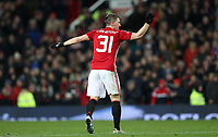 Football - 2016 / 2017 FA Cup - Fourth Round : Manchester United vs. Wigan Athletic <br /> <br /> Bastian Schweinsteiger  of Manchester United celebrates during the match at Old Trafford.<br /> <br /> COLORSPORT/LYNNE CAMERON