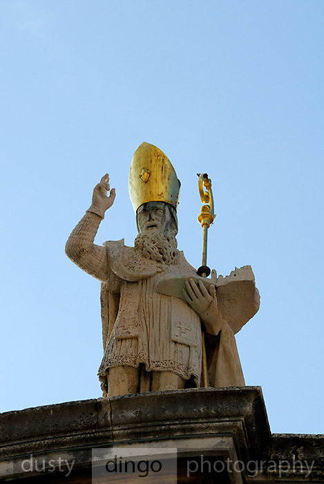 Statue of Saint Blaise (Sveti Vlaho), atop Church of St. Blaise, Dubrovnik old town, Croatia