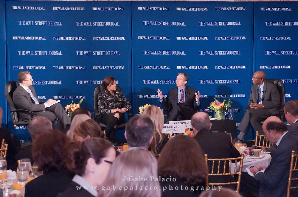 The WSJ Future of New York series on Philanthropy in New York featuring Robert Frank, Senior Writer of the Wall Street Journal, Grace Hightower De Niro, Board Member of New York Women's Foundation, Robert Kennedy, Jr, President, Waterkeeper Alliance and chief prosecuting attorney of Hudson Riverkeeper, and Geoffrey Canada, CEO of Harlem Children's Zone, in New York City on April 8, 2011.  (photo by Gabe Palacio)