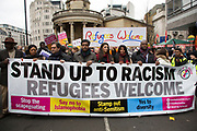 Demonstrators at Anti-racism Day demonstration led by Stand Up To Racism on 19th March 2016 in London, United Kingdom. Stand Up To Racism has led some of the biggest anti-racist mobilisations in Britain of the last decade, making a stand protesting against racism, Islamophobia, anti-Semitism and fascism.