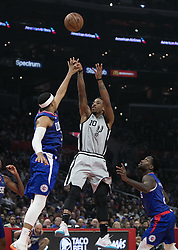 November 15, 2018 - Los Angeles, California, U.S - Tobias Harris #34 of the Los Angeles Clippers defends against DeMar DeRozan #10 of the San Antonio Spurs during their NBA game on Thursday November 15, 2018 at the Staples Center in Los Angeles, California. Clippers defeat Spurs, 116-111. (Credit Image: © Prensa Internacional via ZUMA Wire)