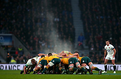 Steam rises as The England and Australia packs contest a scrum - Mandatory by-line: Robbie Stephenson/JMP - 18/11/2017 - RUGBY - Twickenham Stadium - London, England - England v Australia - Old Mutual Wealth Series