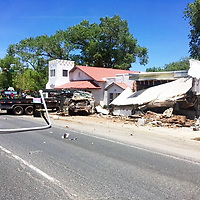 Riverwalk Gallery in Grants was destroyed Wednesday when a stolen truck crashed into the building.