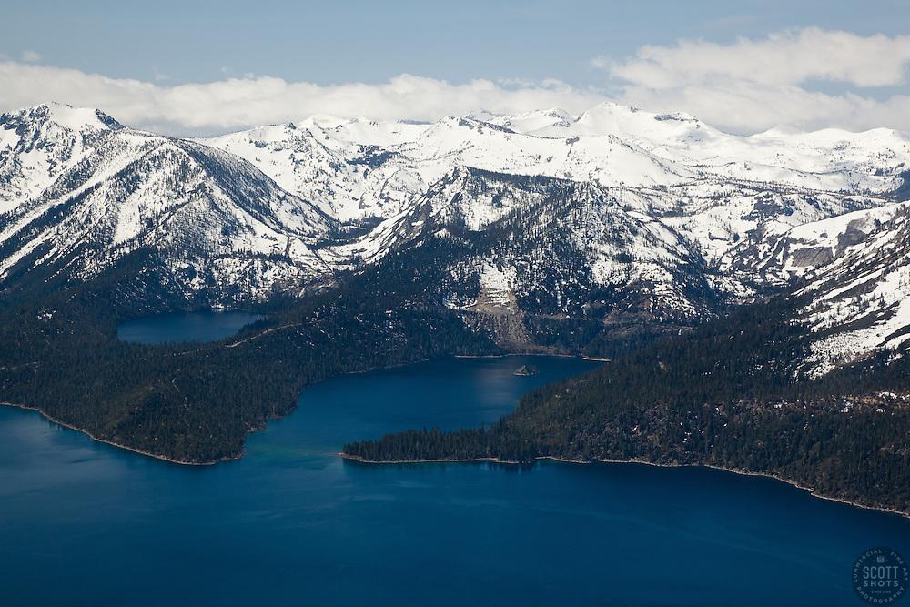 """Emerald Bay, Lake Tahoe Aerial 1"" - Aerial photograph of the blue waters of Emerald Bay in Lake Tahoe, CA and Cascade Lake."