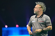 Peter Wright during the PDC Unibet Premier League darts at Marshall Arena, Milton Keynes, United Kingdom on 27 May 2021.