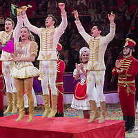 Members of the Richter Troupe of Hungary trained by Jozsef Richter Jr. celebrate winning the Golden Pierrot award during the 10th International Circus Festival in Budapest, Hungary on January 13, 2014. ATTILA VOLGYI