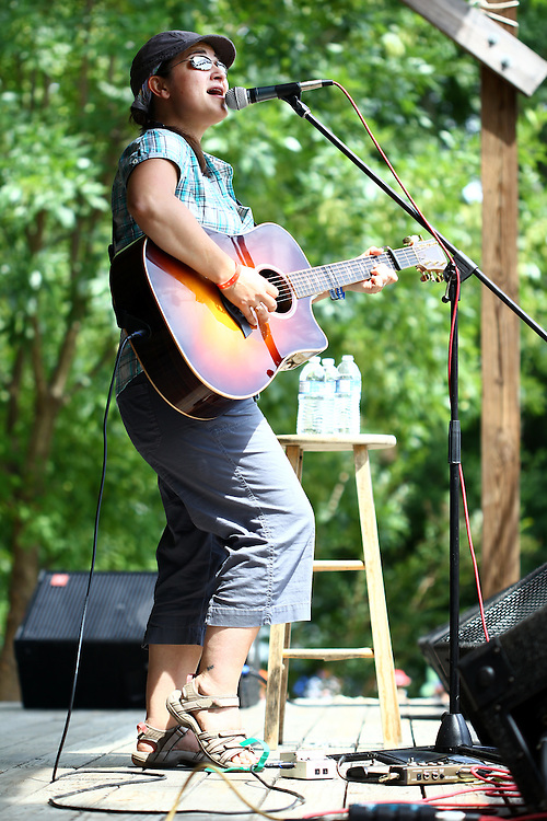 Jennifer Knapp performs on the main stage at the Wild Goose Festival at Shakori Hills in North Carolina June 25, 2011.  (Photo by Courtney Perry)
