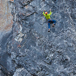 Brent Peters sport climbing in Cougar Canyon, Canmore, Alberta