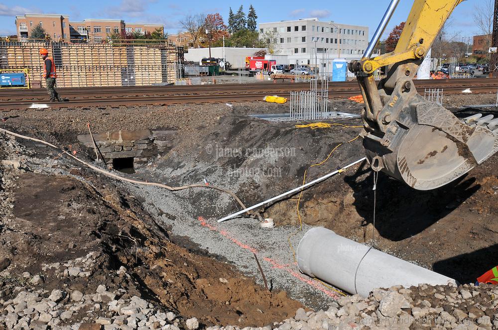 Drainage Pipeline Excavation. Construction Progress Railroad Station Fairfield Metro Center. Site visit 4 of once per month Chronological Documentation.