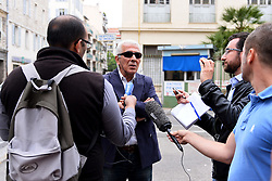 Rafat Eisa (President of AFECA - Association Franco Egyptienne de la Cote d?Azur) gives a press conference outside St Roch Hospital following the death today at 12h30 PM of his friend Mohamed Darwich, in Nice, southern France on Saturday May 10, 2014. Mohamed Darwich was driver of Monegasque heiress Helene Pastor has been shot on tuesday evening.  The sister of the recently deceased Monegasque entrepeneur Michel Pastor has been shot and injured in an ambush outside Archet 1 hospital. Her chauffeur was also injured in the shooting which was carried out by two unknown attackers on her black Monaco registered Lancia Voyager. The two injured were taken to St Roch hospital and were both operated on during the night. Photo by Patrice Masante/ABACAPRESS.COM  | 446822_005 Nice France